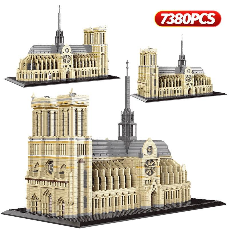 7380pcs+ Diamond Mini Notre-Dame DE Paris Model Building Blocks Church Architecture Tibet Potala Palace bricks Toys For Children